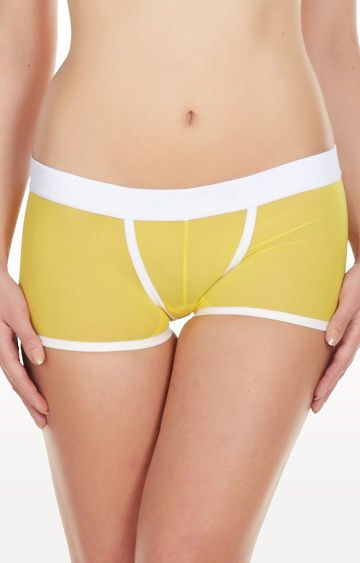 La Intimo | Yellow Power Net Low Back Boyshorts
