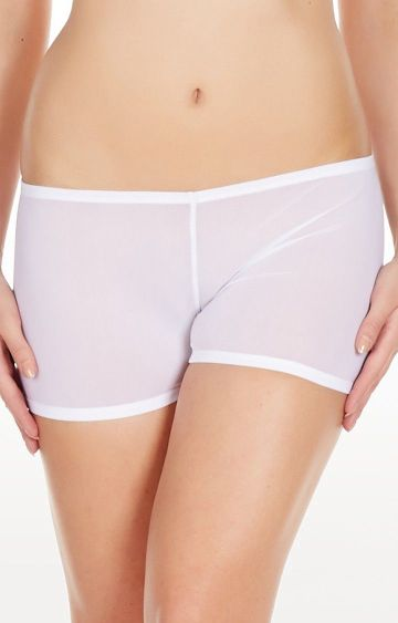 La Intimo | White Mesh Comfy Sports Boyshorts