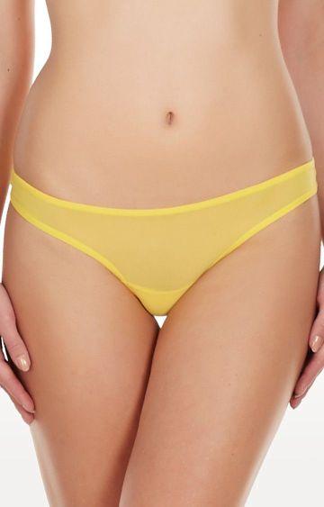 La Intimo   Yellow Fine Mesh See Through Thong