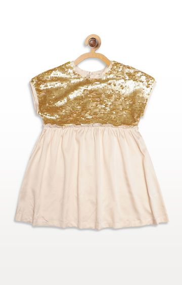 United Colors of Benetton | Off-White and Gold Solid Dress