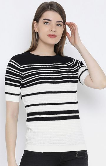 United Colors of Benetton | Black and White Striped Top