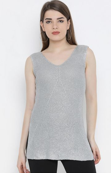 United Colors of Benetton | Silver Solid Tunic
