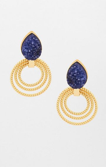 Global Desi | Blue and Gold Dangle and Drop Earrings