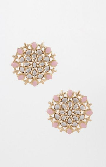 Global Desi | Gold and Pink Studs