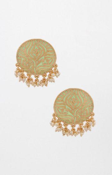 Global Desi | Gold and Green Dangle and Drop Earrings