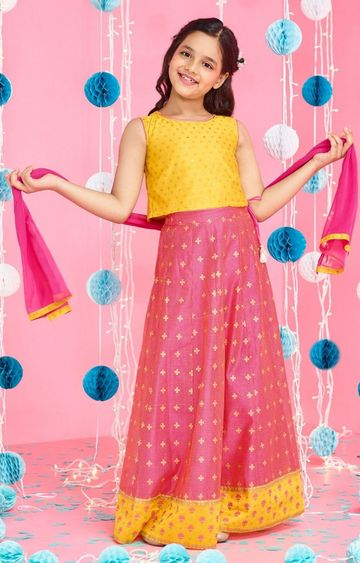 Global Desi | Pink Printed Lehenga Set