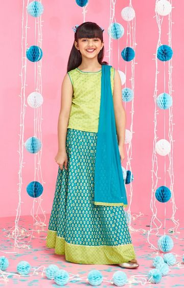 Global Desi   Turquoise Printed Lehenga Set