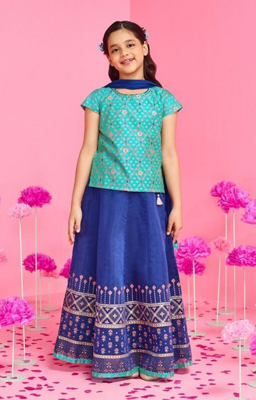 Global Desi | Ink Blue Printed Lehenga Choli Set