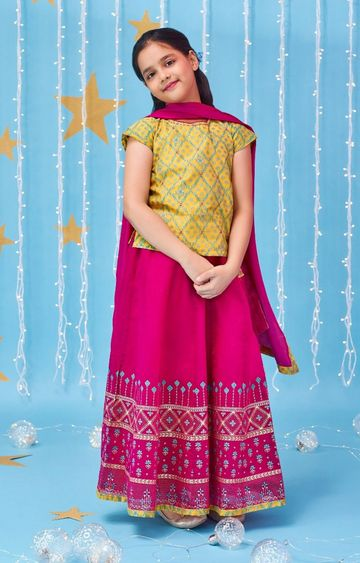 Global Desi | Magenta Printed Lehenga Set