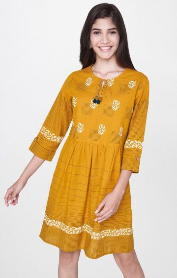 Global Desi | Mustard Printed Shift Dress
