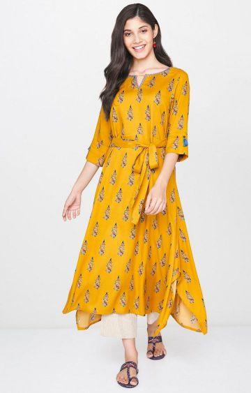 Global Desi | Mustard Printed Asymmetric Kurta