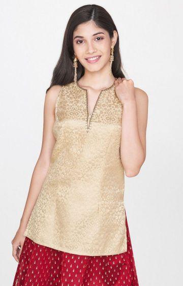 Global Desi   Gold Printed Top