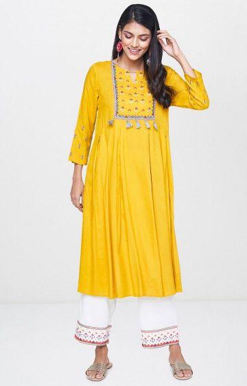 Global Desi | Yellow Printed Anarkali