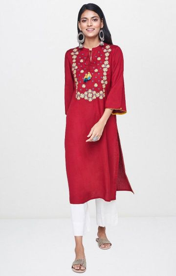 Global Desi | Red Printed Kurta