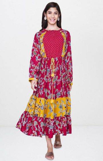 Global Desi | Multicoloured Printed Skater Dress