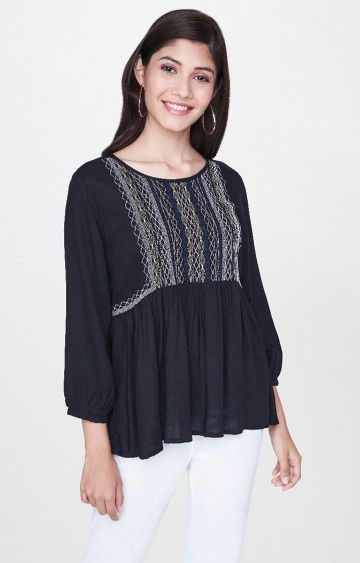 Global Desi | Black Embroidered Top