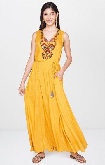 Global Desi | Mustard Printed Maxi Dress