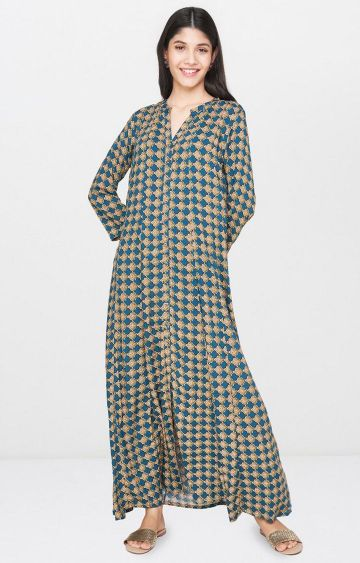 Global Desi | Teal Printed Maxi Dress