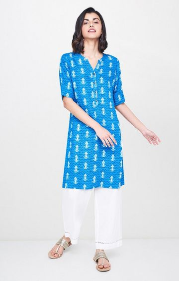 Global Desi | Blue Printed Regular Kurti