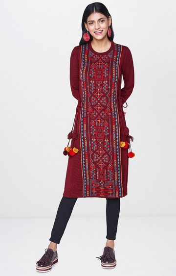 Global Desi | Wine Printed Kurta