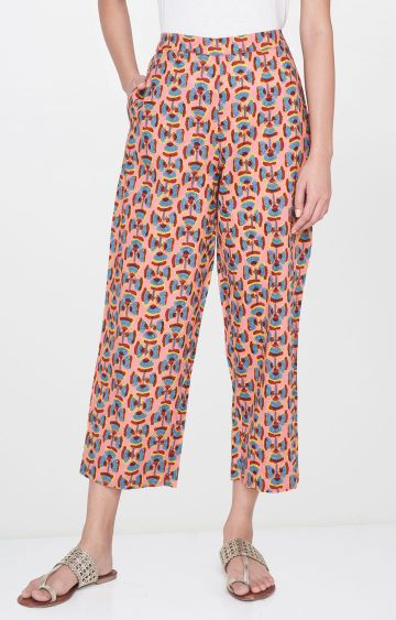 Global Desi   Pink Printed Cropped Trousers
