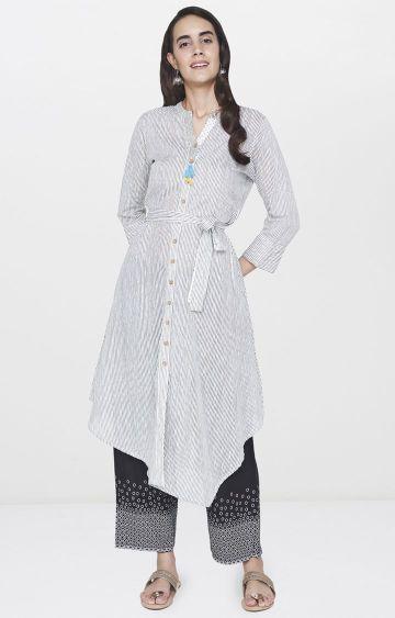 Global Desi | Off White Striped Asymmetric Kurta