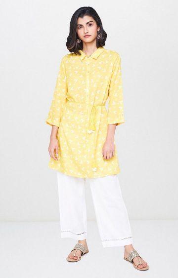 Global Desi | Yellow Printed Tunic