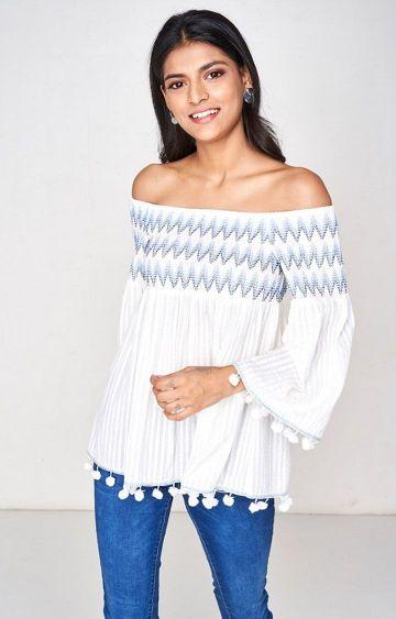 Global Desi | White Printed Off Shoulder Top