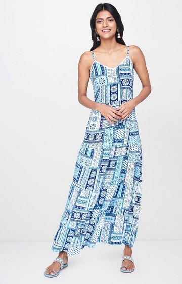 Global Desi | Blue Printed Maxi Dress