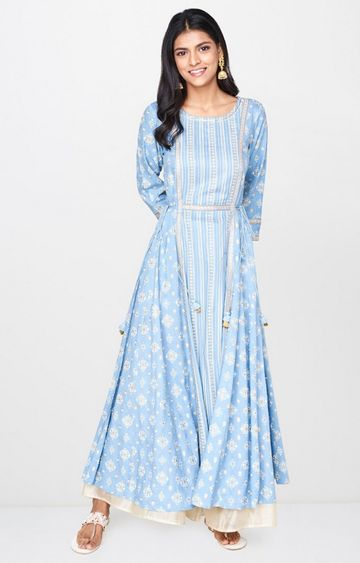 Global Desi | Light Blue Printed Anarkali