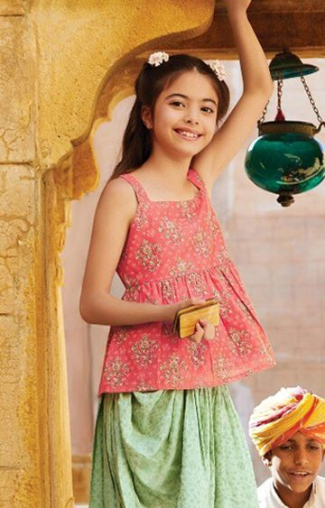Global Desi | Pink Printed Dhoti Top Set