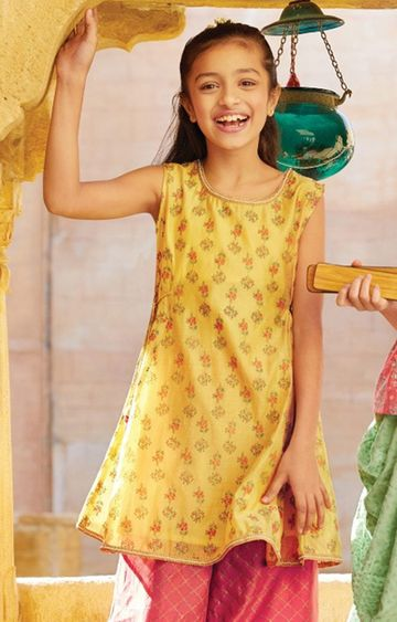 Global Desi | Mustard Printed Kurta Sharara Set