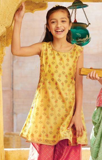 Global Desi | Mustard Printed Kurta Sharara Set