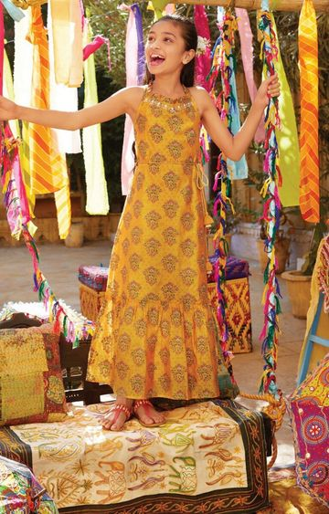 Global Desi | Mustard Printed Dress