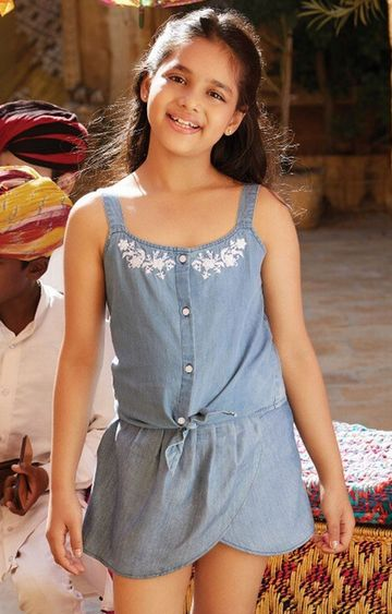 Global Desi | Denim Solid Skirt