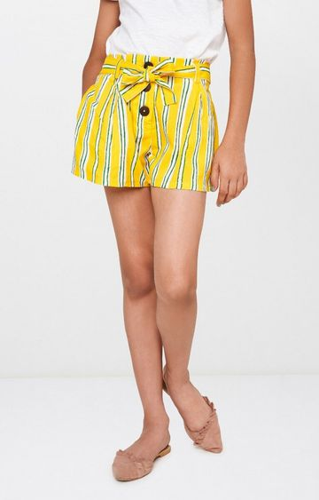 Global Desi | Yellow Striped Shorts