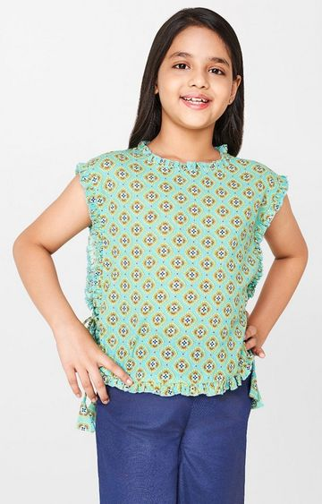 Global Desi | Mint Printed Top