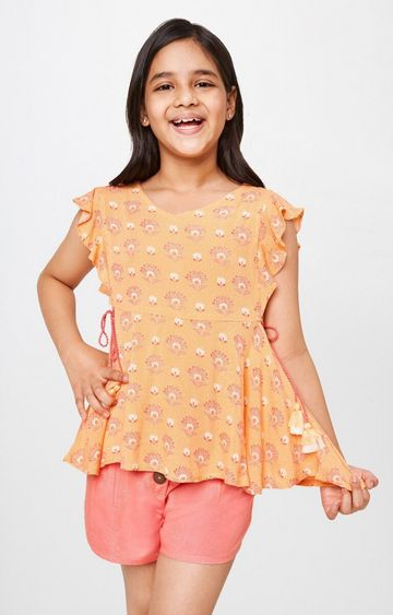 Global Desi | Peach Printed Top