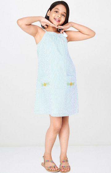 Global Desi | Blue Striped Dress