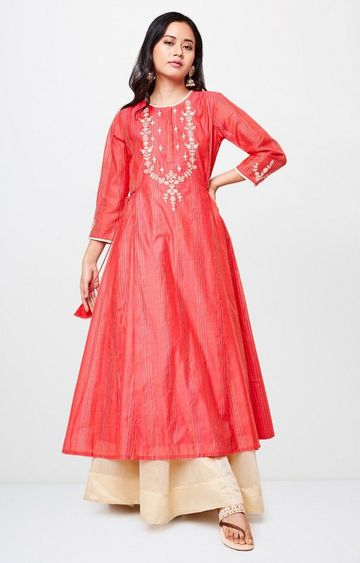 Global Desi | Pink Embroidered Tunic