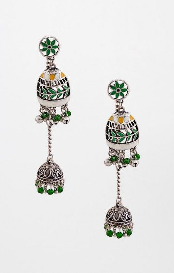 Global Desi | Green Dangle and Drop Earrings