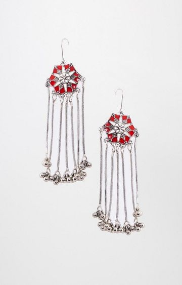 Global Desi | Red Dangle and Drop Earrings