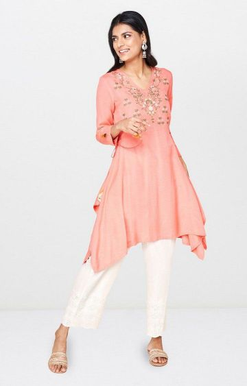 Global Desi | Coral Embroidered Tunic