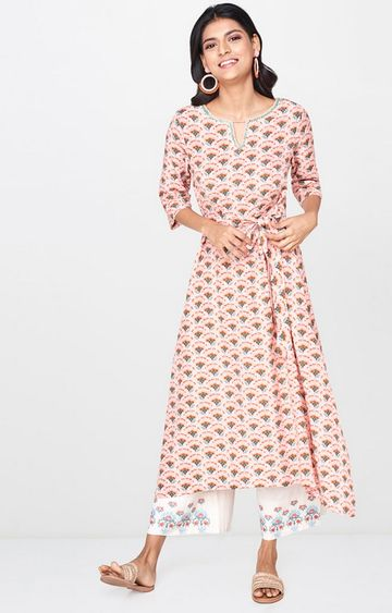 Global Desi | Pink Printed Anarkali