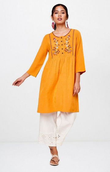 Global Desi | Mustard Embroidered Tunic