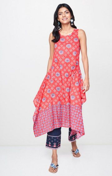 Global Desi | Red Printed Asymmetric Kurta