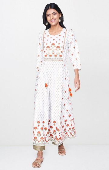 Global Desi | White Printed Anarkali