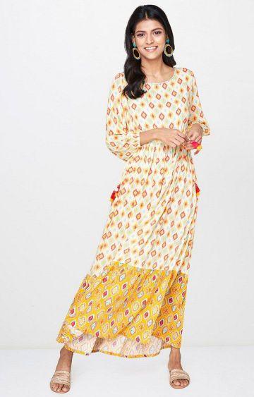 Global Desi | Off White Printed Maxi Dress