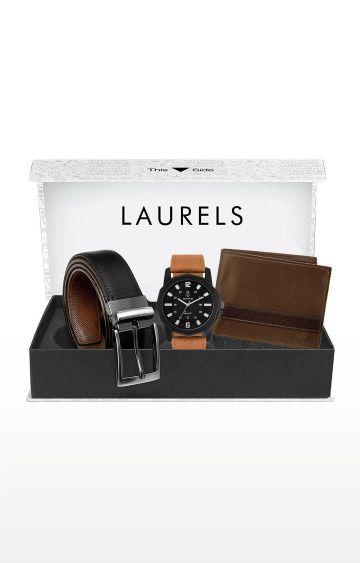 Laurels | Multicolour Watch, Wallet and Belt Combo