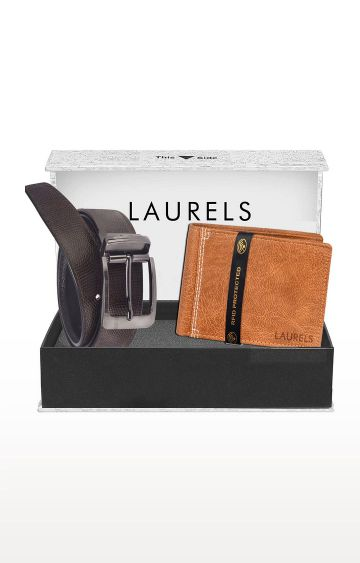 Laurels | Brown and Tan Wallet and Belt Combo